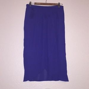 Blue Hi-Low Skirt with pockets